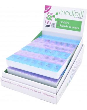 mcompact14 - Pilulier semainier à 14 compartiments. Couvercle individuel par compartiment.